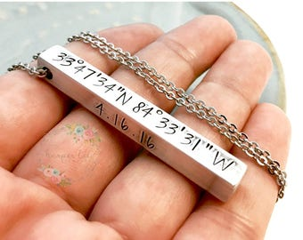 Personalized 4 Sided Solid Bar Necklace ~ Aluminum ~ Brass ~ Pewter ~ Sterling Silver ~ Hand Stamped Coordinates Names Dates Wanderlust