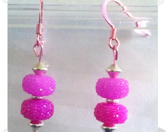 Pinkberry Colorsparx Earrings -- Super Faceted Acrylic & Sterling Silver Beads on Shiny Metal Findings -- See Photos