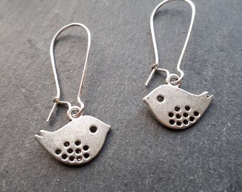 Cute Dotty Bird Earrings on silver plated kidney wires
