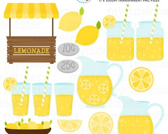 Lemonade Stand Clipart Set - clip art set of lemonade, lemonade stand, drinks, lemon - personal use, small commercial use, instant download