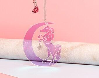Unicorn gift, Unicorn Necklace, Iridescent, crescent moon necklace, moon necklace, rainbow unicorn, celestial, unicorn jewelry, unicorn