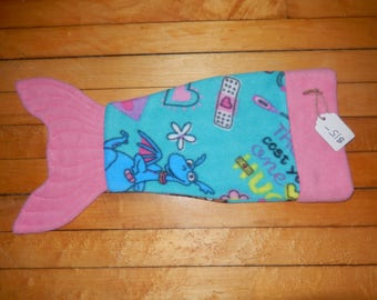 Handmade Fleece 18 inch doll Mermaid tale tail fin blanket Teal and Pink with Stuffie with DocMcstuffins