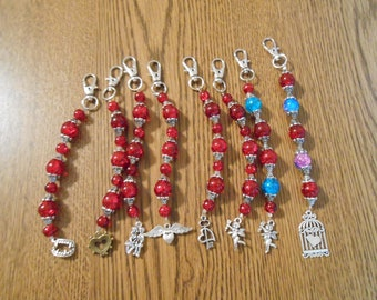 Red Beaded Purse Dangles