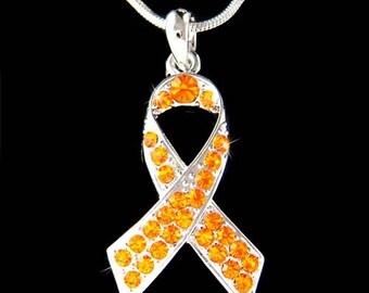Swarovski Crystal Orange Leukemia Kidney Cancer Multiple Sclerosis Awareness Ribbon Pendant Charm Necklace Christmas Best Friend Gift New