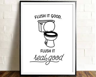 Funny Bathroom Art, PRINTABLE Art, The Crown Prints, Flush It Real Good,