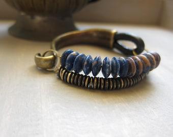 AFrican Jewelry, Tribal Bracelet,THE MORPHO BRACELET,Indian Collection,Blue Jean,Brass,boho Bracelet,Bone Jewelry,Bue Denim,Leather Jewelry