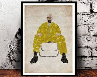 Breaking Bad Walter White Heisenberg Bryan Cranston Better Call Saul Jesse Pinkman I am the one who knocks cult TV Show A4 watercolour print