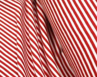 Rib knit fabric plain striped red white 0.54yd (0.5m) 003293