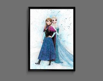 Frozen poster Anna and Elsa wall art home decor print