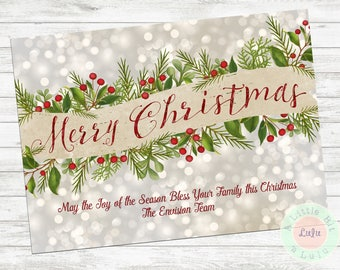Holly Banner Merry Christmas Card, Photo Card, Holly and Berries, Digital Download, Printed Cards