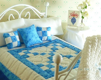 Doll Quilt Dollhouse Scale Miniature Blue Hand Quilted Fairy House Quilt Matching Decorator Blue Pillow Bed Set Sheet and Pillow Case Afghan