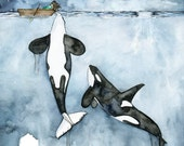 Orca Painting, Watercolor...