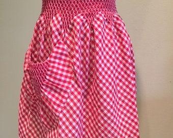 Vintage Red Gingham Apron, Smocked Waist, Rick Rack trimmed Apron, Vintage Half Apron, Hostess Gift, Mother's Day Gift