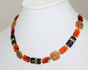 Dragonfly Wood Amber Necklace