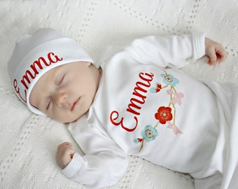 Baby Shower Gift Girl Newborn Girl Coming Home Outfit Baby Hospital Outfit Personalized Take Home Outfit Baby Girl Clothes Newborn Baby Gift