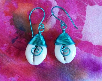 Wire Wrapped Cowrie Shell Earrings, Beach Cowrie Shell Earrings, Seafoam Green Shell Earrings