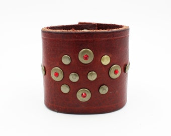 Burgundy Leather Cuff with Red Swarovski