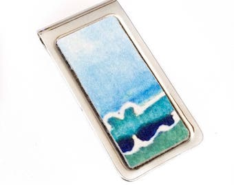 Blue Agate Print Leather Money Clip - by UNEARTHED
