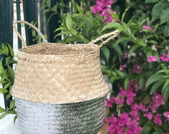 Olivia Seagrass Belly Basket / Gold,Silver / Panier Boule / Storage Basket / Laundry Basket / Planter Basket / Toy Storage / Beach Bag