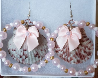 Seashell Chandelier Earrings, LARGE pink, white and grey with bow and pearl beads