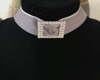 "1"" Gray velvet choker with crystal buckle"