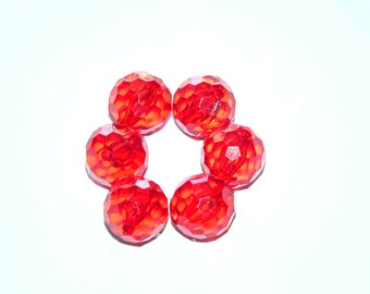 Faceted Beads, 20mm Acrylic Beads, Red Round Beads, Loose Beads, Jewelry Supplies, Beginner Beads, Destash Beads, Bulk Beads, Craft Supply