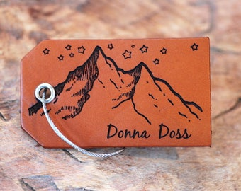 Women's Luggage Tag, Personalized Gift For Her, Leather Luggage Tag, Birthday Gift, Long Distance Girlfriend Present, Baggage Tag, Mountain
