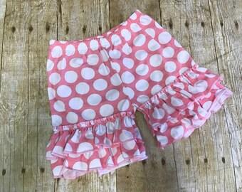 Polka dot shorties, pink shorts, girls shorts