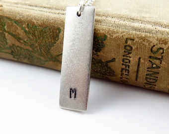 Silver Bar Necklace with Hand Stamped Initial