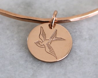 Sparrow Charm - add a charm, hand stamped jewelry
