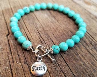 Faith Turquoise Howlite Bracelet