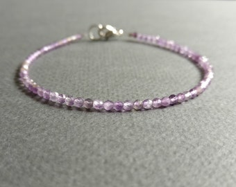 Purple haze. Delicate bracelet made of faceted amethyst.