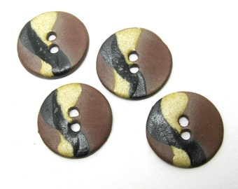 Set of 4 round buttons made of ceramic and stoneware - ref 7 d