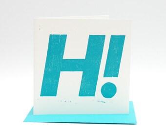 Letterpress greeting card, hand printed woodcut