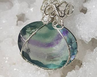 Rainbow fluorite with tangled silver 925