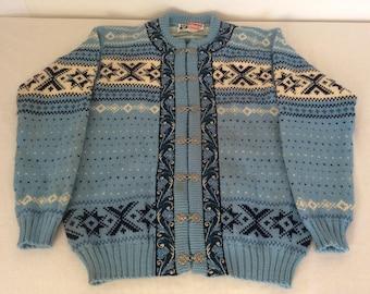 Voss  Knit Norway Vintage Fair Isle Pewter Clasp Cardigan Nordic Sweater 100% Virgin Wool Eur 44