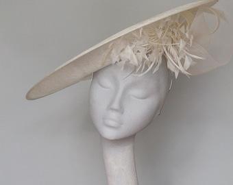 Ivory Disc Fascinator Kentucky Derby Hat - Mother of Bride Hat - Wedding Hat -  Royal Ascot Hat - Derby Hat - Ladies Day Hat