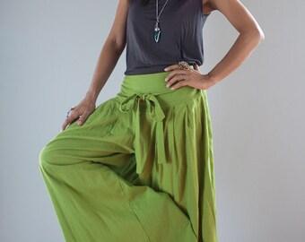 Wide Leg Pants / Green Linen Pants :  Soul of the Orient Collection