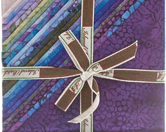 "Island Batik - Lotus Blooms Batiks Stack Pack/Layer Cake by Kathy Engle - 42, 10"" x 10"" Precut Fabric Squares"