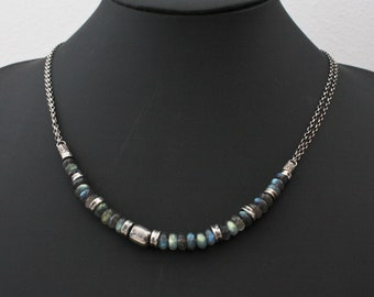 Sterling silver labradorite necklace, statement gemstone necklace, oxidized sterling silver chain, labradorite jewelry, gift for her