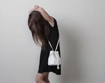 White Crossbody Bag, Summer Style, White Bag, Mini Crossbody Bag, Small Bag, Small White Bag, White Leather Bag, Gift for Her - Mini Mika