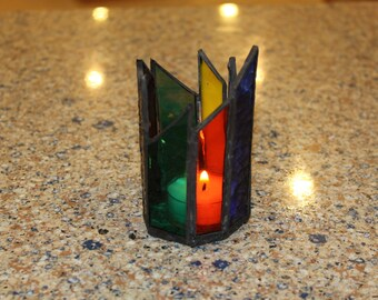 Handmade Stained Glass Candle Holder - Rainbow Colors of Glass with a Clear Textured Bottom