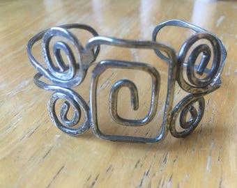 Spirals Cuff Bracelet in Silver Metal