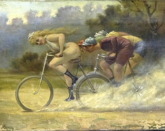 Nude Bicycle Poster ~ Albert Penot - Nude Bicycling - Naked Girl - Risque - Bicycle Race - Bicycle Lover Gift - Bike Riding