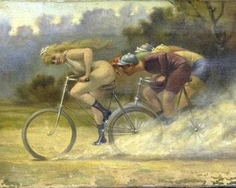 Girl naked racing on bicycle ~ Albert Joseph Penot - Giclee Fine Art Print - Wall Art Classic