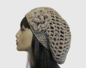 Oatmeal Slouchy Beanie Tan Crochet Hat with flower oatmeal Slouchy Cap Knit Slouch Beret Taupe Crochet Tam Slouchy Oatmeal Hat Slouch Beret