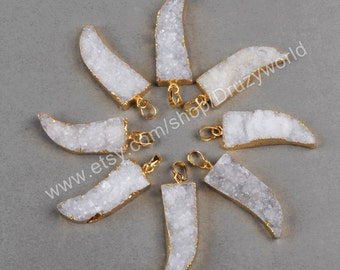 1Pcs Natural White Agate Druzy Geode Horn Pendant Bead Gold Plated Sparkling Drusy Quartz Crystals Gemstone Tusk Pendant Jewelry G0810