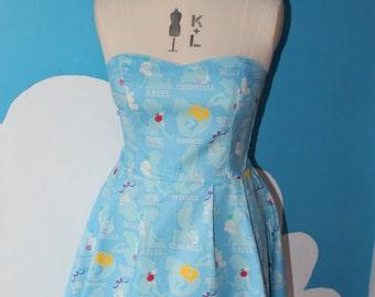 SALE - blue disney princess silhouette sweet heart dress