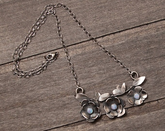 Opal Flower Necklace | Sterling Silver | One of a Kind