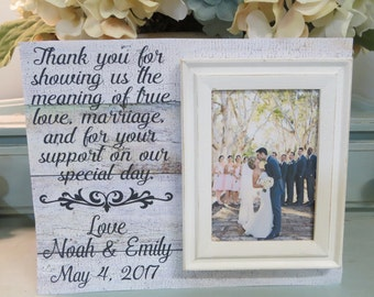 "Wood Wedding Frame, ""Thank you for showing us the meaning of true love..."",Wedding Gift for Parents, Personalized Wedding Frame for Parents"